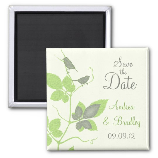 Birds and Leaves Wedding Save the Date Magnet