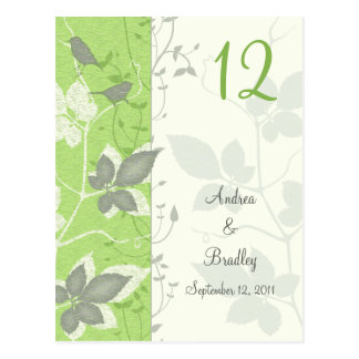 Birds and Leaves Wedding Table Number Card Postcard