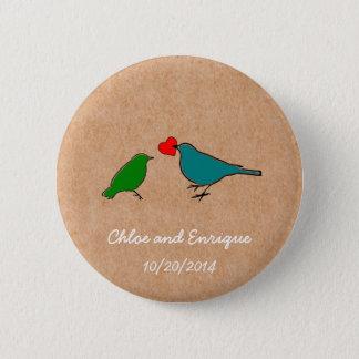 Birds And Love Heart Cute Wedding Button