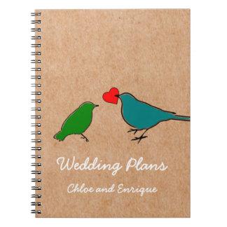 Birds And Love Heart Cute Wedding Notebook