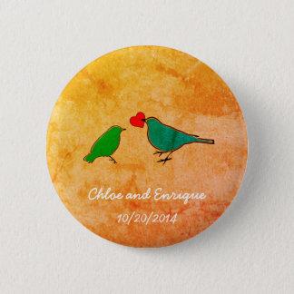 Birds and Love Heart Watercolor Wedding Button