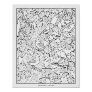 """Birds and Maple Tree Adult Coloring Page 20""""x16"""" Poster"""