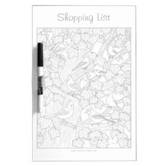 Birds and Maple Tree Adult Coloring Page Dry Erase Board
