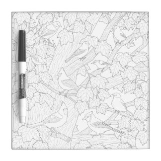Birds and Maple Tree Adult Coloring Page Dry-Erase Board