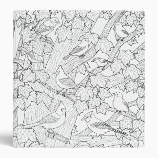 Birds and Maple Tree U-Color 3 Ring Binder