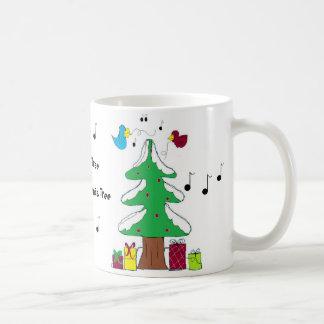 Birds and Musical Notes Christmas mug