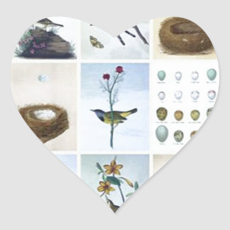 Birds and Nests Heart Sticker