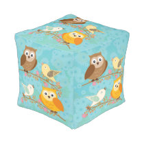 Birds and owls pouf