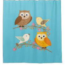 Birds and owls shower curtain