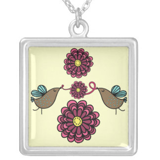 Birds and Pink Flowers Necklace