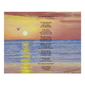BIRDS AND SHIPS AND CLOUDS OCEAN COLLECTIBLE POEM POSTER