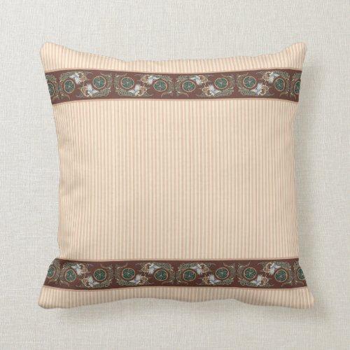 Birds and Stripes Celtic Design Throw Pillow