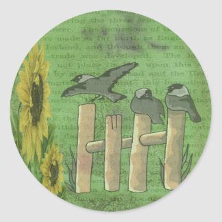 Birds and Sunflowers Classic Round Sticker