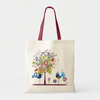 Birds and tree budget tote bag