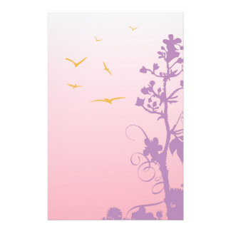 birds and tree,purple custom stationery
