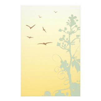 birds and tree,yellow stationery paper
