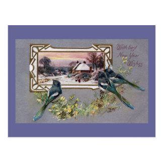 Birds and Winter Scene Vintage New Year Postcard