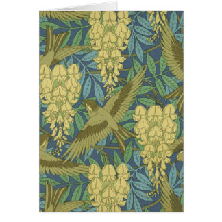 Birds and Wisteria Greeting Cards