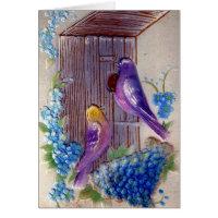 Birds andBird House Birthday Greeting Card