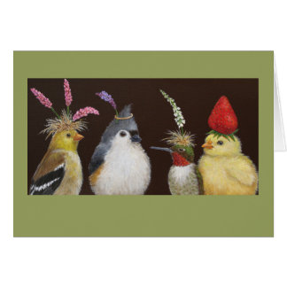 birds at a party card