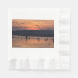 Birds at sunrise napkin