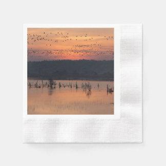 Birds at sunrise paper napkin