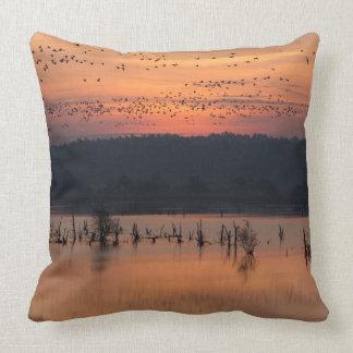 Birds at sunrise pillow