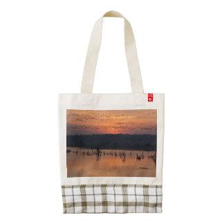 Birds at sunrise zazzle HEART tote bag