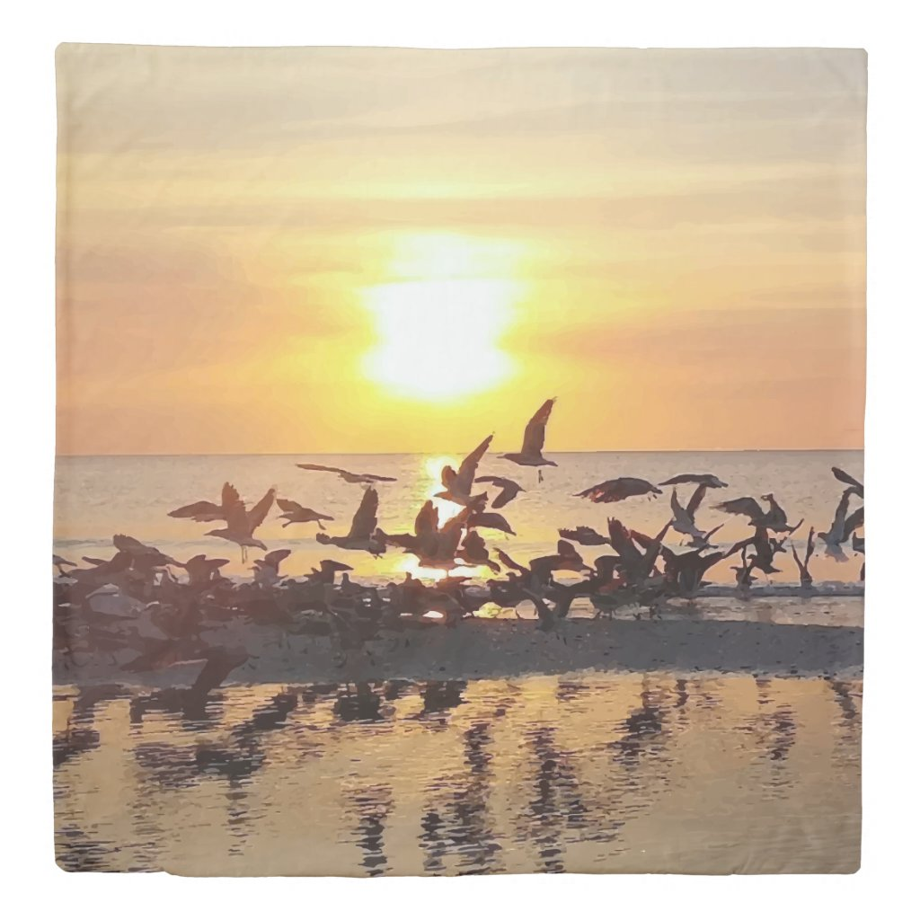 Birds at Sunset on the Beach Nature Photo Print Duvet Cover