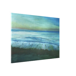 Birds At Sunset On Whitby Shores Gallery Wrapped Canvas