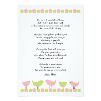 Birds baby shower thank you notes / pink green card