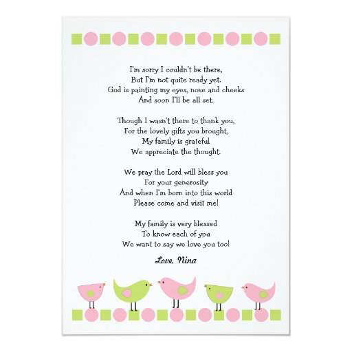 birds baby shower thank you notes pink green card zazzle