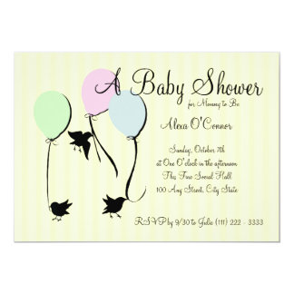 Birds Balloons and Baby Card