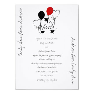 Birds, Balloons and Hearts Wedding Card