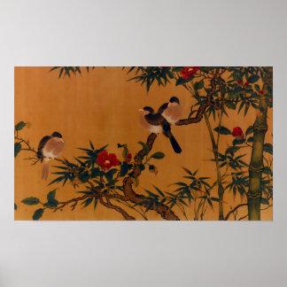 Birds, Bamboo, & Camellias Japanese Art 1644-1911 Poster