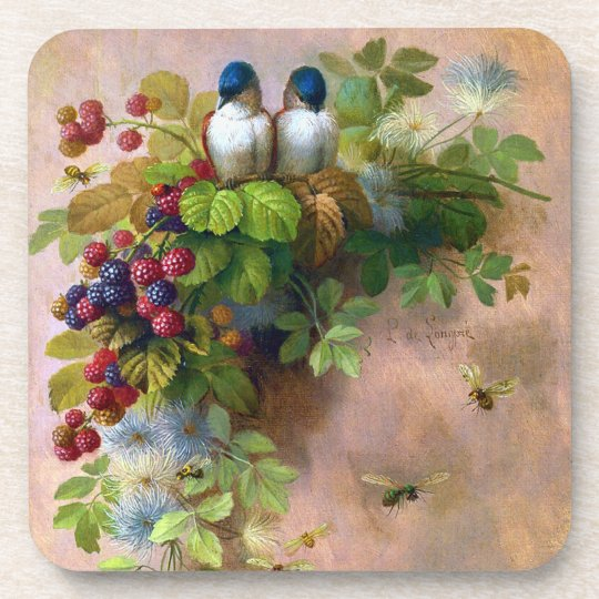 Birds Bees and Berries Cork Coaster