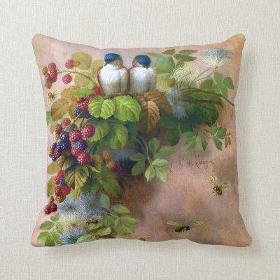 Birds Bees and Berries Fine Art Throw Pillow
