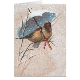 Birds Beneath Blue Umbrella Greeting Card