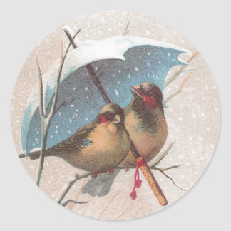 Birds Beneath Blue Umbrella Classic Round Sticker