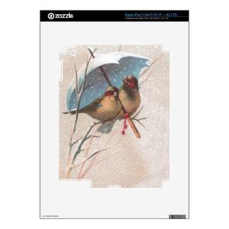 Birds Beneath Blue Umbrella in Snowstorm iPad 3 Skins