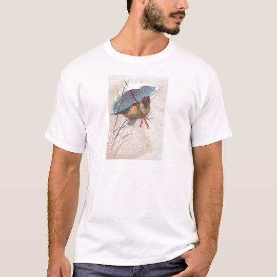 Birds Beneath Blue Umbrella T-Shirt