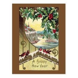 Birds Beneath Holly and Mistletoe Vintage New Year Postcard
