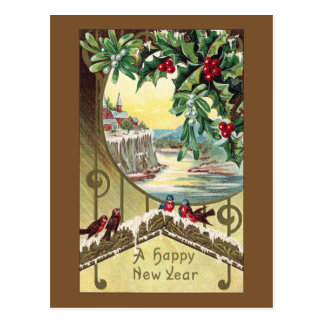 Birds Beneath Holly and Mistletoe Vintage New Year Post Cards