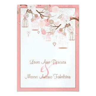 Birds Bird Cages Floral After Wedding Celebration Card