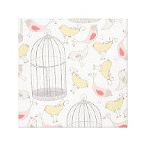 Birds & Birdcages Pattern Canvas Print