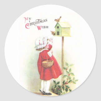 Birds, Birdhouse, Holly and Girl Vintage Christmas Round Sticker