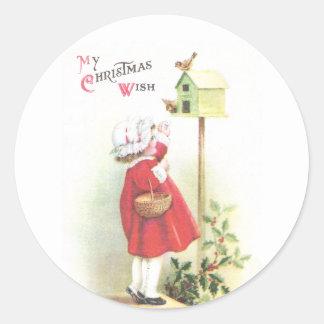 Birds, Birdhouse, Holly and Girl Vintage Christmas Round Sticker