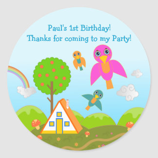 Birds Birthday Party thank you note Classic Round Sticker