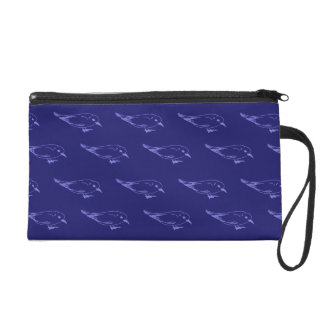 Birds blue wristlet purses