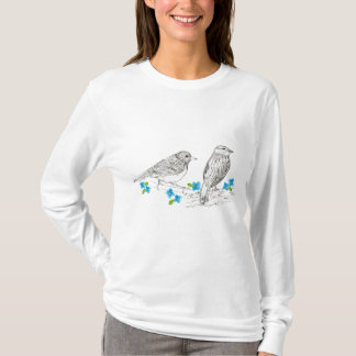 Birds Blue Flowers Nature Drawing T-Shirt
